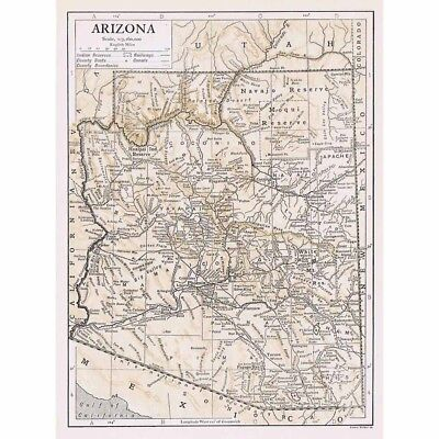 ARIZONA State Map Showing County Seats - Vintage Map 1926 by Emery Walker