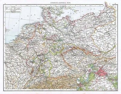 GERMANY (General) with inset of Berlin and Environs - Antique Map 1899