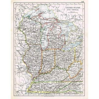 UNITED STATES Wisconsin, Indiana, Ohio, Michigan - Antique Map 1899 by Johnston