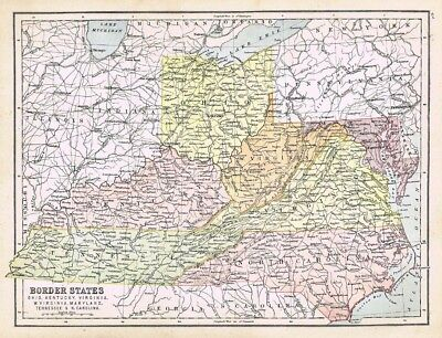 UNITED STATES Border States, Ohio, Kentucky etc-Antique Map c1870 by Bartholomew