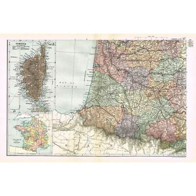 FRANCE (SW) inset of Provinces and Corsica - Antique Map 1894 by Bacon
