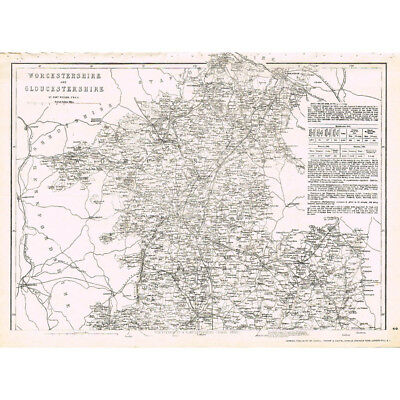 WORCESTERSHIRE & GLOUCESTERSHIRE (North) - Antique County Map c.1863 by Weller