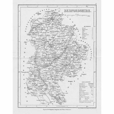 BEDFORDSHIRE Antique Map 1840 by Archer for Dugdales England & Wales Delineated