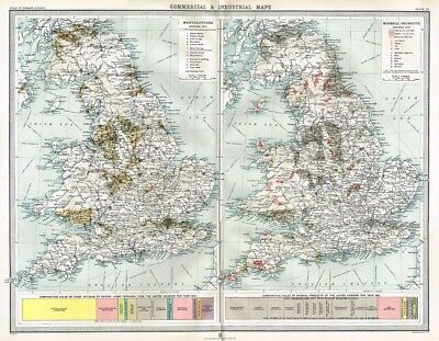 ENGLAND and WALES Commercial & Indiustrial Antique Map 1903 by Bartholomew