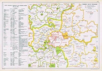 LONDON Petty Sessional Boroughs - Antique Map c.1912 by GW Bacon