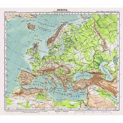 Europa (Physisch) Europe Physical Map - Vintage Map 1926