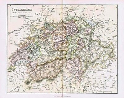 SWITZERLAND and Passes of the Alps - Antique Map c.1880 by MacKenzie