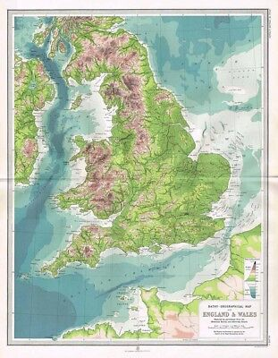 ENGLAND and WALES Bathy-Orographical Antique Map 1903 by Bartholomew