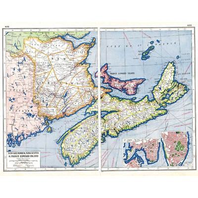 Antique Map 1920 - CANADA New Brunswick, Nova Scotia, St John - Harmsworth Atlas