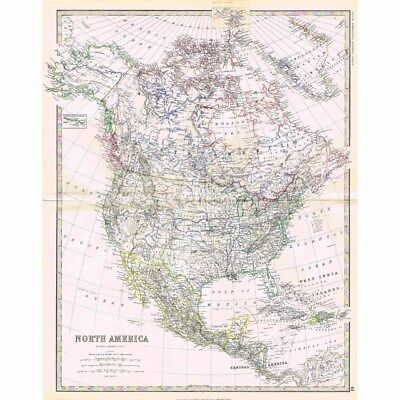 NORTH AMERICA - Large Antique Map 1878 by Keith Johnston