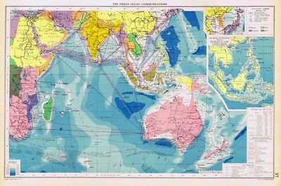 INDIAN OCEAN Communications inc Shipping Lines - Vintage Marine Map 1952