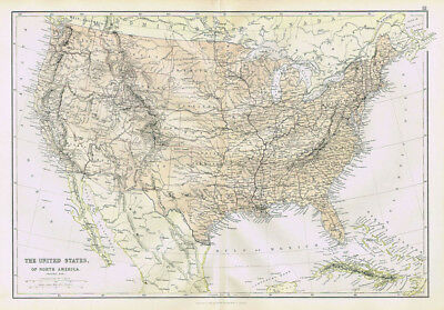 UNITED STATES OF AMERICA (General) - Antique Map 1883 by Blackie