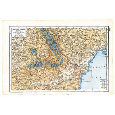 Antique Map 1920 - World War 1 - Eastern Front (South) - The Main Battle Lines