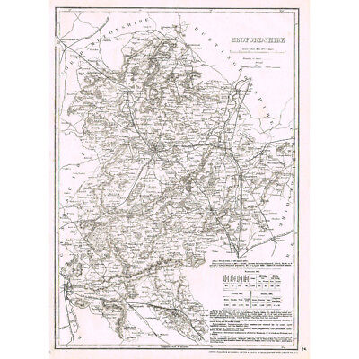 BEDFORDSHIRE - Antique County Map c.1863 by Cassell