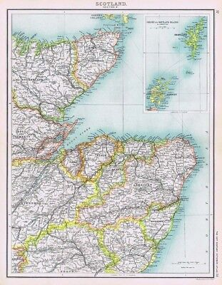 SCOTLAND (NE) Antique Map 1902 by Bartholomew; Inset of Orkney & Shetland