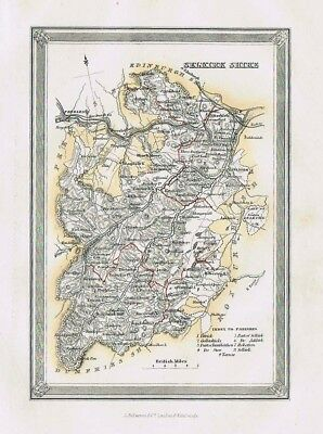 SELKIRKSHIRE Showing Parishes - Antique Coloured Map c1875 by Fullarton