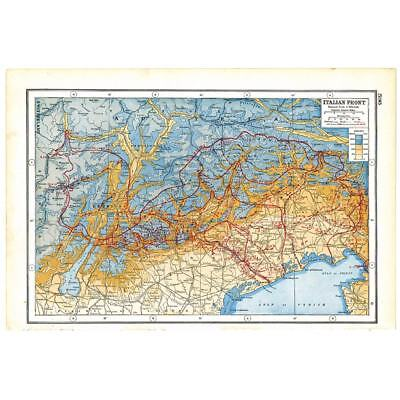 Antique Map 1920 - World War 1 - Italian Front Allied and Austrian Battle Lines