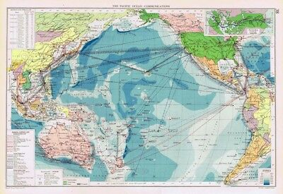 PACIFIC OCEAN Communications inc Shipping Lines - Vintage Marine Map 1952