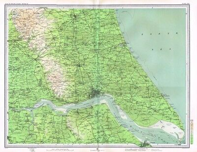 HULL and HORNSEA Antique Map 1903 by Bartholomew; Great Driffield, Beverley