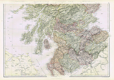 SCOTLAND The South Part - Antique Map 1883 by Blackie