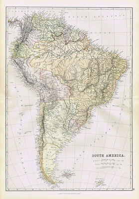 SOUTH AMERICA Antique Map 1883 by Blackie
