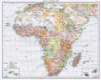 AFRICA Showing European Possessions - Antique Map 1899 from The Times Atlas