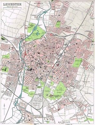 LEICESTER Street Plan Antique Map 1903 by Bartholomew