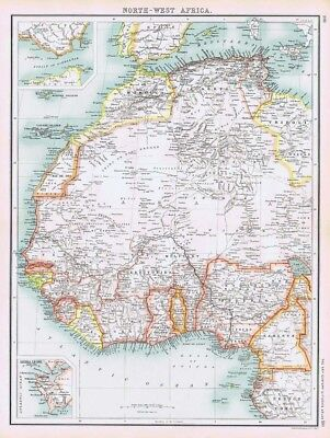 AFRICA (NW) Antique Map 1902 by Bartholomew; Inset of Sierra Leone