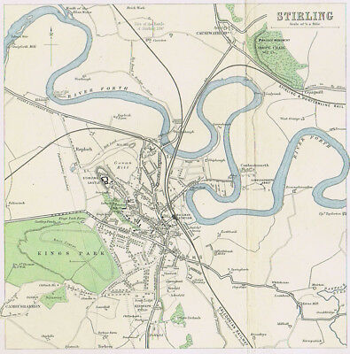 STIRLING Town Street Plan - Antique Map 1895 by Bartholomew