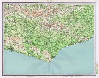 EAST SUSSEX Antique Map 1903 by Bartholomew; Brighton, Eastbourne, Hastings