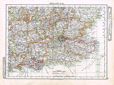 ENGLAND South Eastern Counties - Antique Map c1912 by W&AK Johnston