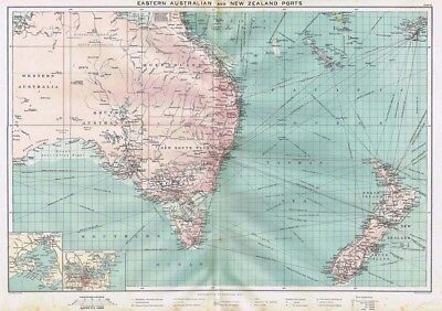 EAST AUSTRALIA & NEW ZEALAND PORTS Large Antique Mercantile Map 1904