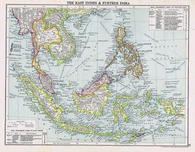EAST INDIES and FURTHER INDIA Vintage Map 1926 by Philip & Son