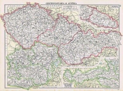 CZECHOSLOVAKIA & AUSTRIA Vintage Map 1926 by Philip & Son