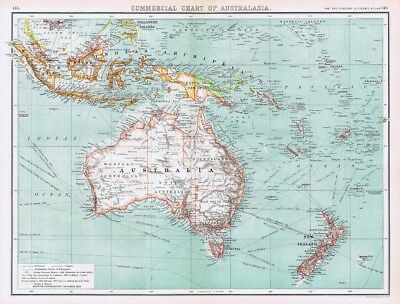 COMMERICAL CHART OF AUSTRALASIA Antique Map 1902 by Bartholomew