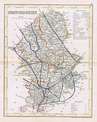 STAFFORDSHIRE Antique Coloured Map c1840s by Archer for Dugdales