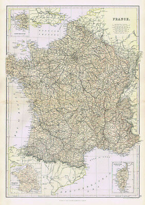 FRANCE Antique Map 1883 by Blackie
