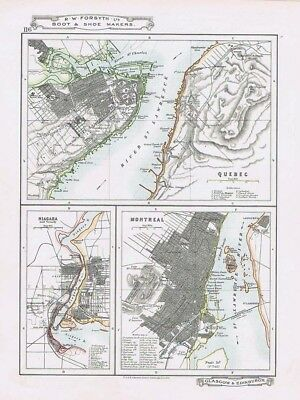 CANADA Plans of Quebec Montreal & Niagara - Antique Map c1912 by W&AK Johnston