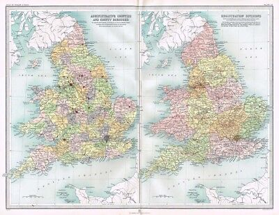 ENGLAND and WALES Counties & Registration Divs - Antique Map c1903 by Bartholom