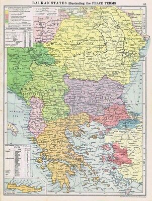 BALKAN STATES Illustrating WW1 Peace Terms Vintage Map 1926 by Philip & Son
