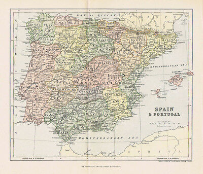 SPAIN & PORTUGAL Antique Map c1890 by W&A.K Johnston