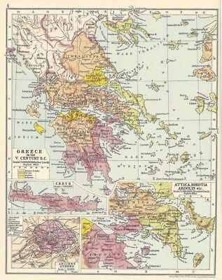 GREECE In the 5th Century BC Vintage Map 1928