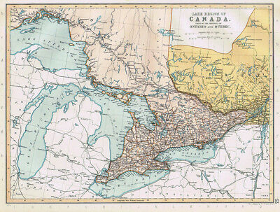 CANADA Province of Ontario & part of Quebec - Antique Map 1895 by Blackie