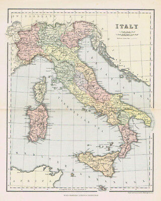 ITALY Antique Map c1890 by W&A.K Johnston
