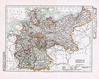 EMPIRE OF GERMANY Antique Map c1912 by W&AK Johnston