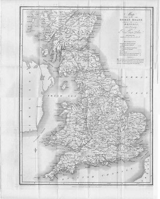 Roman Roads in Britain from a Drawing by Rev Thomas Leman - Antique Print 1817