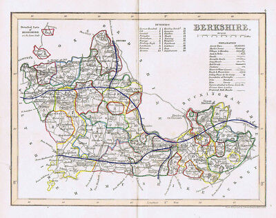 BERKSHIRE Antique Coloured Map c1840s by Archer for Dugdales
