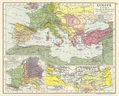 EUROPE In the Age of Charlemagne Vintage Map 1928