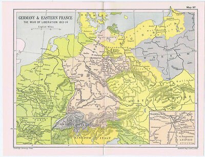 GERMANY & EASTERN FRANCE During the War of Liberation 1813-14 Antique Map 1912