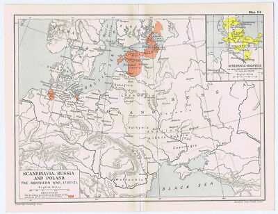 Scandinavia Poland & Russia During Northern War of 1700-1721 Antique Map 1912